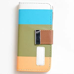 SFBAY Pro PU Leather Quality Wallet Case for iPhone 5S 5G 5 Horizontal with Credit Card Slots & Holder Leather Case + [1 Free Screen Protector] (Blue+Green+Orange)