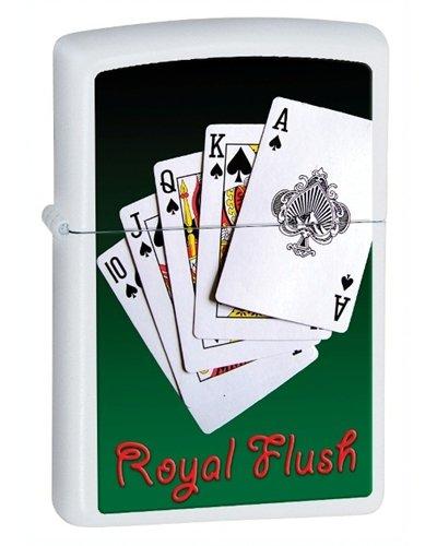 Zippo Royal Flush - Zippo Royal Flush White Matte Lighter