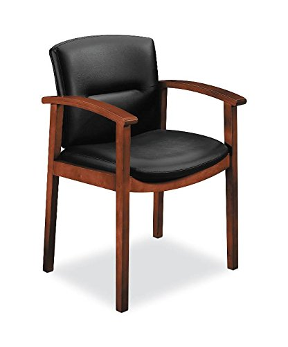 HON Park Avenue Collection Cognac Finish Mid-Back Guest Leather Chair with Wood Frame Fixed Arms, (Hon Wood Guest Chairs)