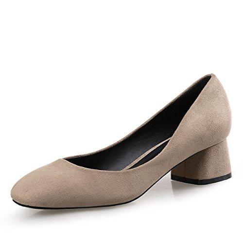 LYJBIK Zapatos De Ante De Las Mujeres De Primavera Otoño Con Punta Cuadrada Talón Abierto De Altura Media Yellow