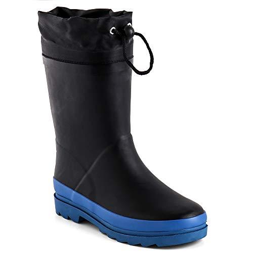 Zefani Kids Waterproof Rubber Rain Boots for Girls, Boys & Little/Big Kids with Fun Prints & Buckle Black/Blue 13 M US Lttile Kid