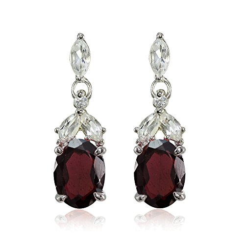 Sterling Silver Garnet and White Topaz Oval Dangle Earrings