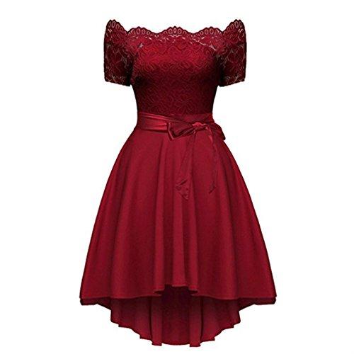 Mangas V Cocktail con Mujer Vino sin Cuello FANTIGO de para en Vestido Noche Rojo Dress qwZxnCRBF