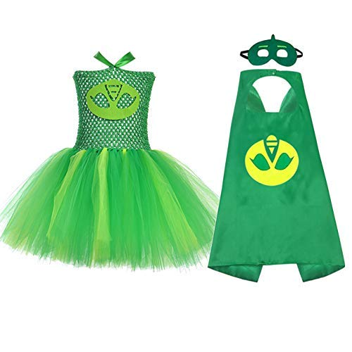 AQTOPS Superhero Costume for Baby Girls Party Hero Dress Outfits 2t, Small Green ()