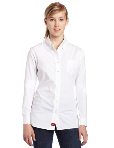 Dickies Girl Juniors Long Sleeve Button Front Poplin Shirt,White,Medium