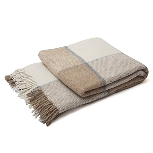 "Wool Plaid Blanket Throw Tartan with Fringe | Warm and Luxurious, Large, Soft, Thick | for Winter Comfort, Home & Exterior Decor | 55""x79"" Twin Size Bed 