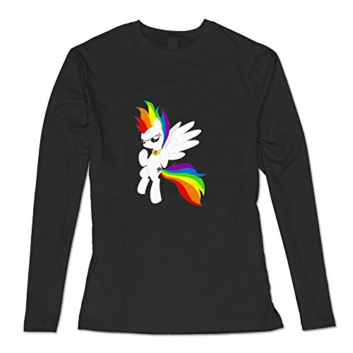Geek Super Rainbow Dash Women's Long Sleeve T-shirt Black Size XL