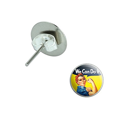 Rosie The Riveter - War Poster Novelty Silver Plated Stud Earrings