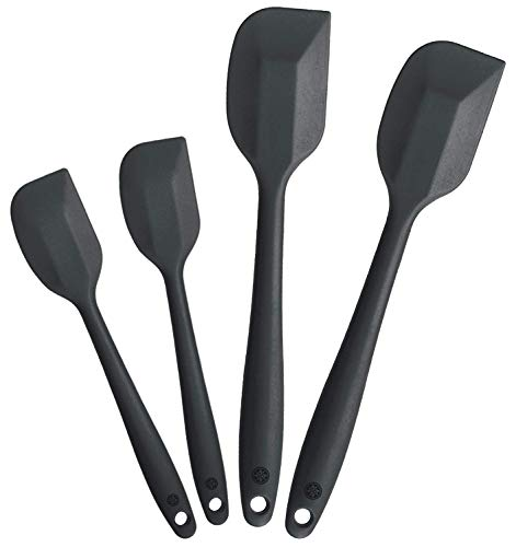 - StarPack Premium Silicone Spatula Set (2 Small, 2 Large) - High Heat Resistant to 600°F, Hygienic One Piece Design, Non Stick Rubber Cooking Utensil Set (Gray Black)