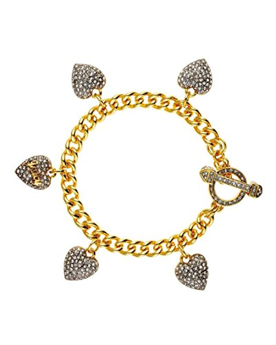 Juicy Couture Crystal Multiple Heart Charm Bracelet (Gold) ()