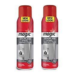 Magic Stainless Steel Cleaner Aerosol 17 Ounce 2 Pack Removes Fingerprints Residue Water Marks And Grease From Appliances Refrigerator Dishwasher Oven Grill
