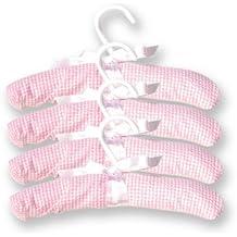 Trend Lab Pack of 4 Hangers, Pink Gingham Seersucker
