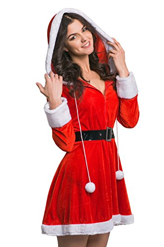 Adult Women Santa Girl Costume Mrs Claus Role Play Christmas & New Year Dress Up (Small/Medium, Red, White, (Mrs Santa Outfit)