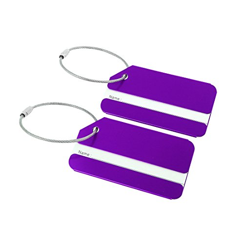 uxcell Luggage Tags,Metal Travel Tags Luggage Identifier Card Holder Name Address ID Labels for Baggage Suitcases,Purple, 2 Pack ()