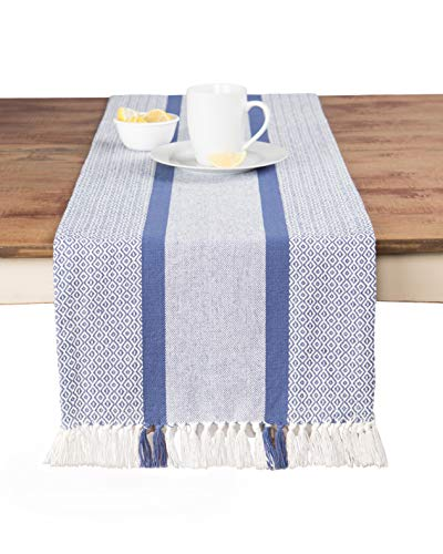 Sticky Toffee Cotton Woven Table Runner with Fringe, Traditional Diamond, Blue, 14 in x 72 in