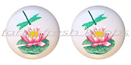 SET OF 2 KNOBS - Lily Pad and Green Dragonfly - Flowers Plants Flower Bouquet Floral - DECORATIVE Glossy CERAMIC Cupboard Cabinet PULLS Dresser Drawer KNOBS