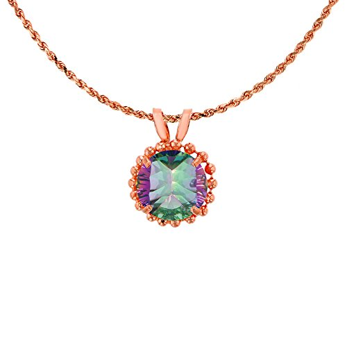 10K Rose Gold 6mm Round Cut Mystic Green Topaz with Bead Frame Rabbit Ear 18