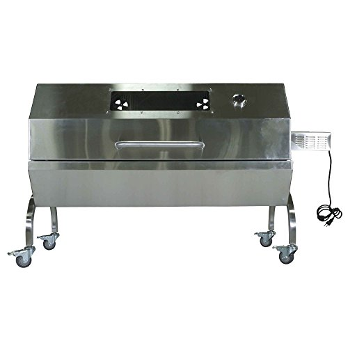 Rotisserie Grill Roaster Spit Glass Hood Stainless Steel 25W 125lb capacity BBQ