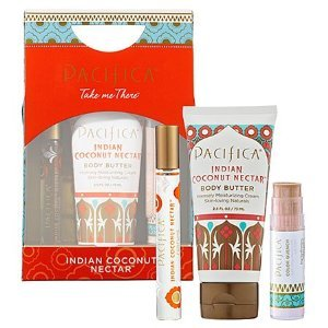 Pacifica Take Me There Set - Indian Coconut Nectar with Lip Quench (Pacifica Indian Coconut Nectar Perfume Roll On)