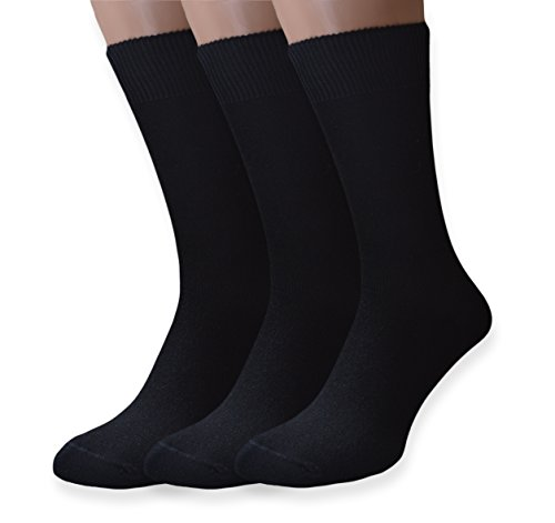 PETANI Mens Socks, 3 pack Rich European Dress Organic Cotton Socks Men Black ( L)