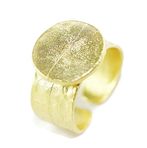 - 1 pc Gold Plated Brass Hammered Adjustable Ring Blank with 15mm Base, Gold Ring Base, Setting Findings,