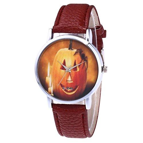 RoseSummer Women's Halloween Watch Pumpkin PU leather strap quartz watch (Quartz Pumpkin)