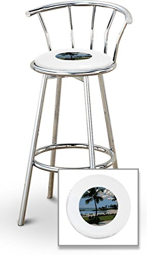 New 29'' Tall Chrome Metal Finish Swivel Seat Bar Stools with Hawaii Seat Cushions and your choice of colored seat cushion vinyl! by The Furniture Cove