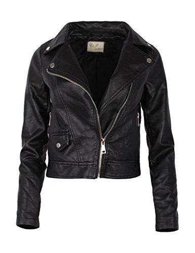 simili blouson biker Noir femme cuir veste Fraternel gtqw8U6