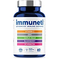 Immuneti - Advanced Immune Defense, 5-in-1 Powerful Blend of Vitamin C, Zinc, Elderberries, Garlic Bulb, Echinacea - Supports Overall Health, Provides Vital Nutrients & Antioxidants
