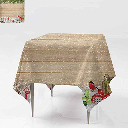 SONGDAYONE Stylish Square Tablecloth Christmas Pine Branches Ornaments on Wooden Planks Snow Presents Vintage Composition Print Leakproof Multicolor W60 xL60