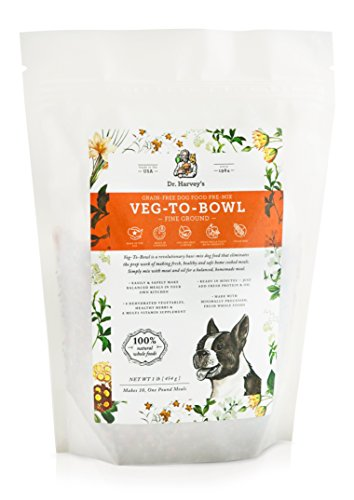 Dr. Harvey's Veg-to-Bowl Fine Ground Dog Food, Human Grade Dehydrated Base Mix for Dogs, Grain Free Holistic Mix for Small Dogs or Picky Eaters (1 lb)