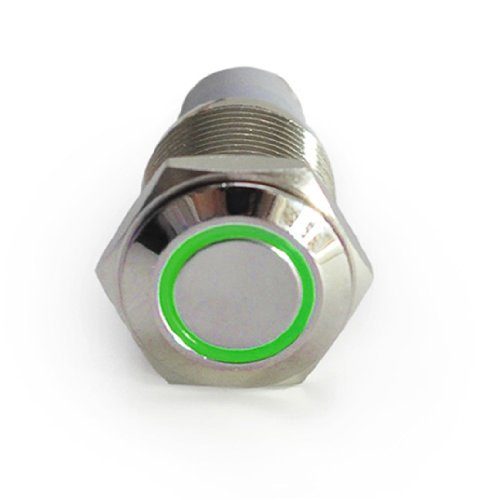 Price comparison product image HOTSYSTEM 12V 16mm LED Stainless Steel Reset Push Button Metal Switch Ring Self-return Switch For Car Motorcycle Boat Marine (Green)