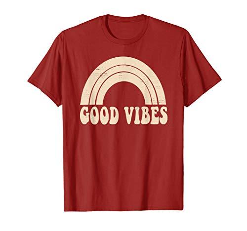 Good Vibes Design Distressed Cute White Rainbow | 70s Retro T-Shirt (Good Vibrations Shirt)