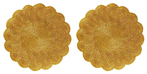 Cotton Craft - 2 Pack Beaded Placemat Set - Scalloped Round Hand Beaded Charger Placemat - Gold - 14 Inches Round - Hand Made by Skilled artisans - A Beautiful complement to Your Dinner Table décor]()