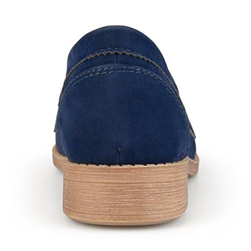 Journee Samling Kvinnor Faux Mocka Kantad Loafers Marinblå