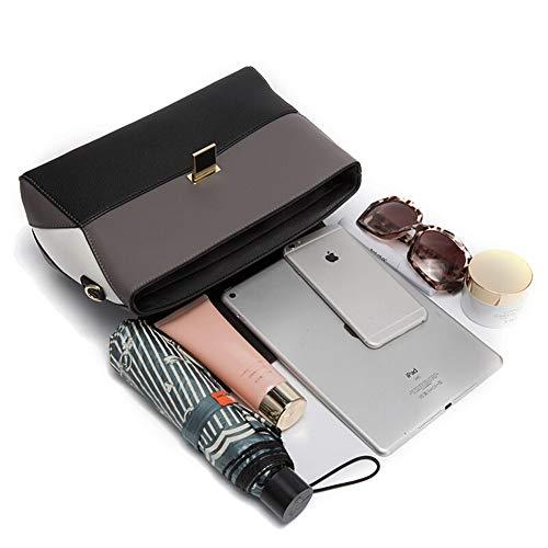 De Tote,material Simple Colores 2 Contraste Bolso Mujer,shopper Cuero En Cuadrado Vaca Bolsos dwE0vqd