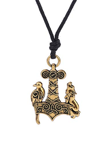 cooltime Thors Hammer Odin Wolf Raven Symbol Pendant Necklace for Men (Yellow)