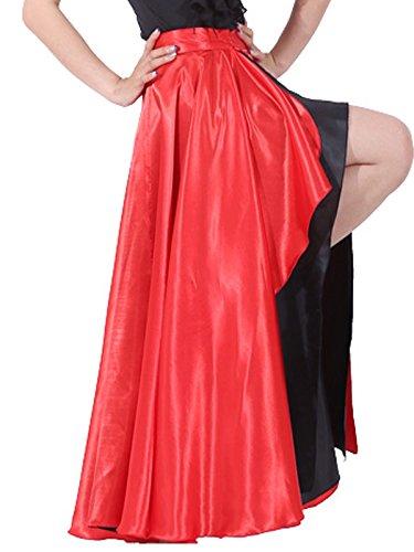 BACKGARDEN Spanish Bull Dance Skirt Adult Flamenco Two Layer Satin Gypsy Dress Red Outside/Black Inside - Flamenco Dance Skirt