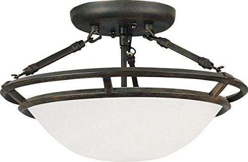 Maxim 2670MRBZ Stratus 3-Light Semi-Flush Mount, Bronze Finish, Marble Glass, MB Incandescent Incandescent Bulb , 60W Max., Dry Safety Rating, Standard Dimmable, Metal Shade Material, Rated Lumens