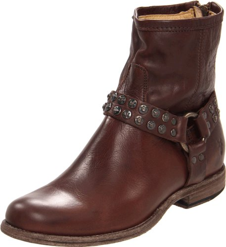 (FRYE Women's Phillip Studded Harness Boot, Dark Brown Soft Vintage Leather, 6 M US)