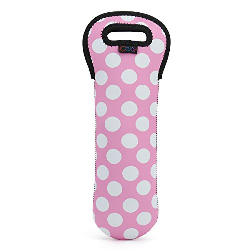 iColor Pink Dots Neoprene Wine Carrier bag Insulated Soda beer bottle holder wine gift bags tote storage Champagne Beverages Containers Soft Drinks Water bottle tote Baby Bottles for travel SWB-10
