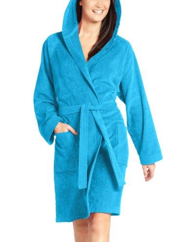 Vossen Damen Bademantel Texas, Einfarbig, Gr. 38 (S), Blau (turquoise)