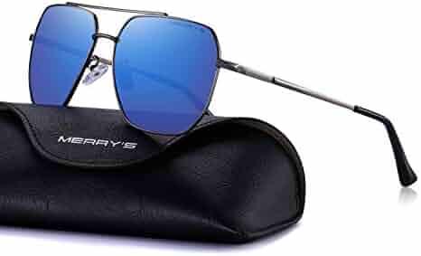a459e9c8f8 MERRY S Ultra Lightweight Rectangular Men s Polarized Sunglasses for Men 100%  UV protection S8211