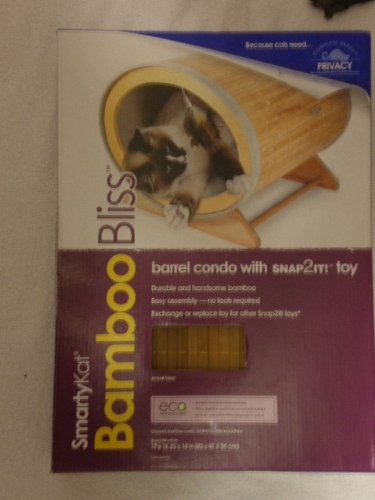 SmartyKat Bamboo Bliss Barrel Condo with SNAP2IT! Toy, My Pet Supplies