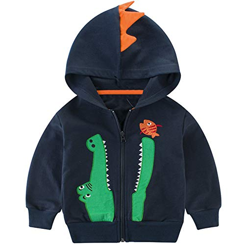 BINIDUCKLING Toddler Boy Hooded Jacket, Kid Cotton Full Zip Hoodie Long Sleeve Fall Clothes Crocodile Navy, (Toddler Full Zip Jacket)