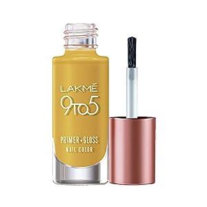 Lakmé 9 to 5 Primer + Gloss Nail Colour, Mustard Master, 6 ml