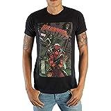 Bioworld Stylish Marvel Deadpool Mens Black Comic Artwork Graphic Print Boxed Cotton T-Shirt X-Large