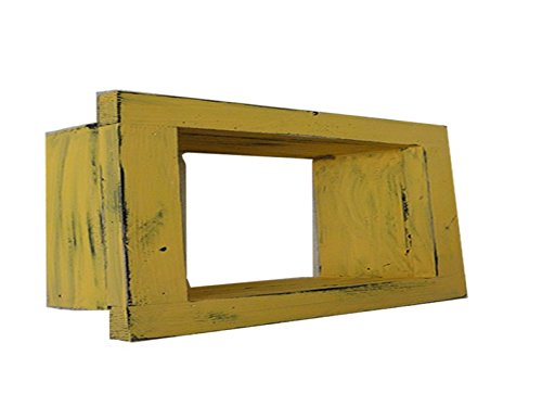 Wood / Wooden Shadow Box Display - 9'' x 6'' - Yellow - Decorative Reclaimed Distressed Vintage Appeal by IGC
