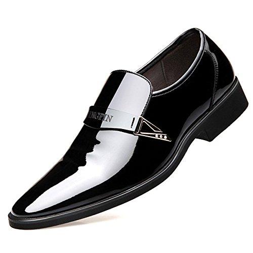 snfgoij Cuir Mâle Chaussures Marron Cravate Décontracté Doux Commerce Robe Chaussures Printemps en Cuir Verni Cuir Brillant Conseils Chaussures Homme Black EHu9XlgmT