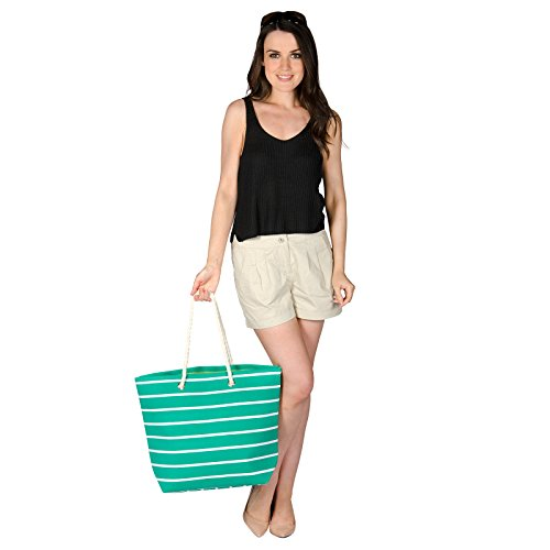 Reuseable Bag Shoulder Green Shopping Tote Handbag Ladies Beach Stripe Canvas nxTwqCwv06